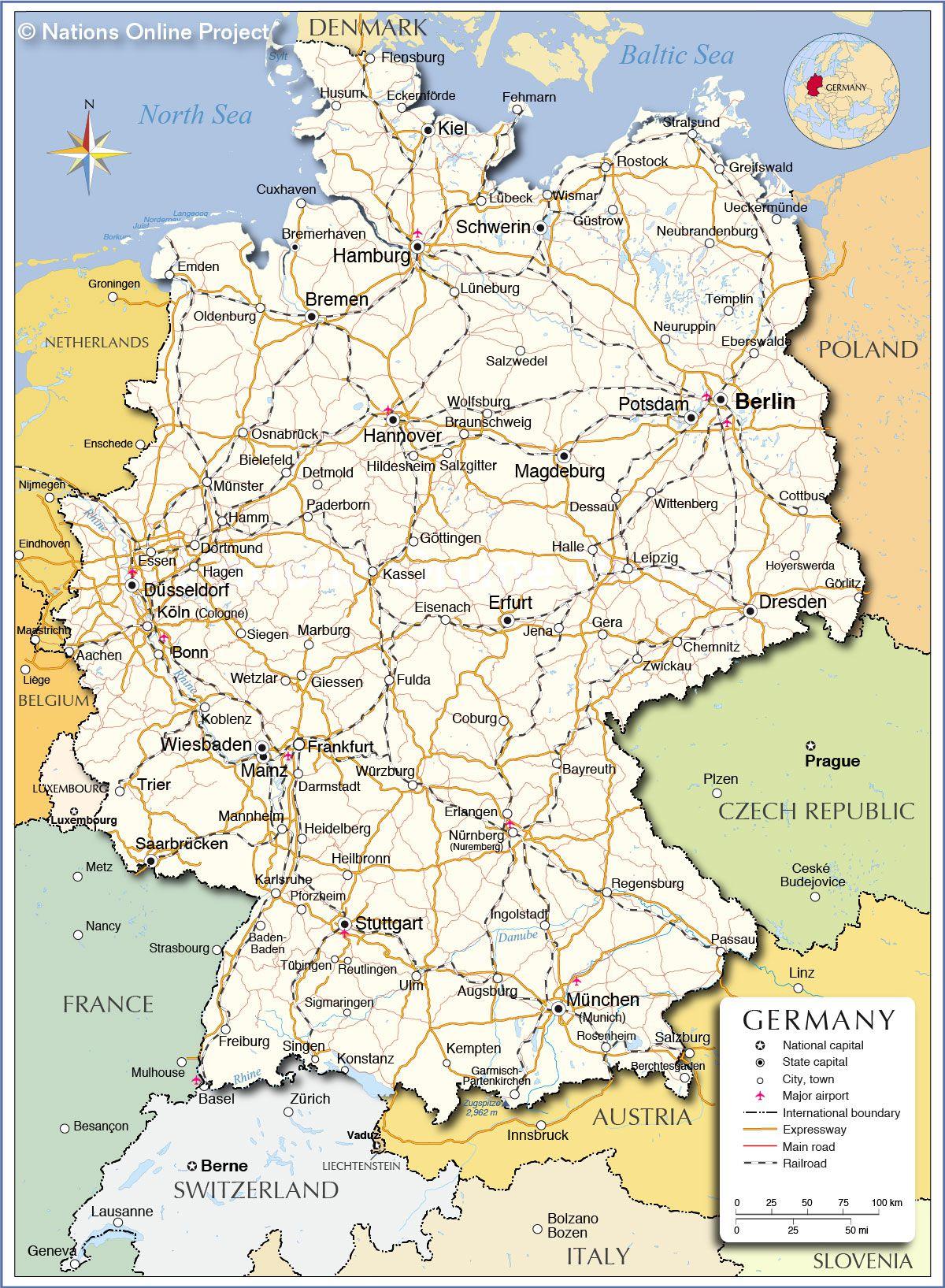 carte des villes allemandes