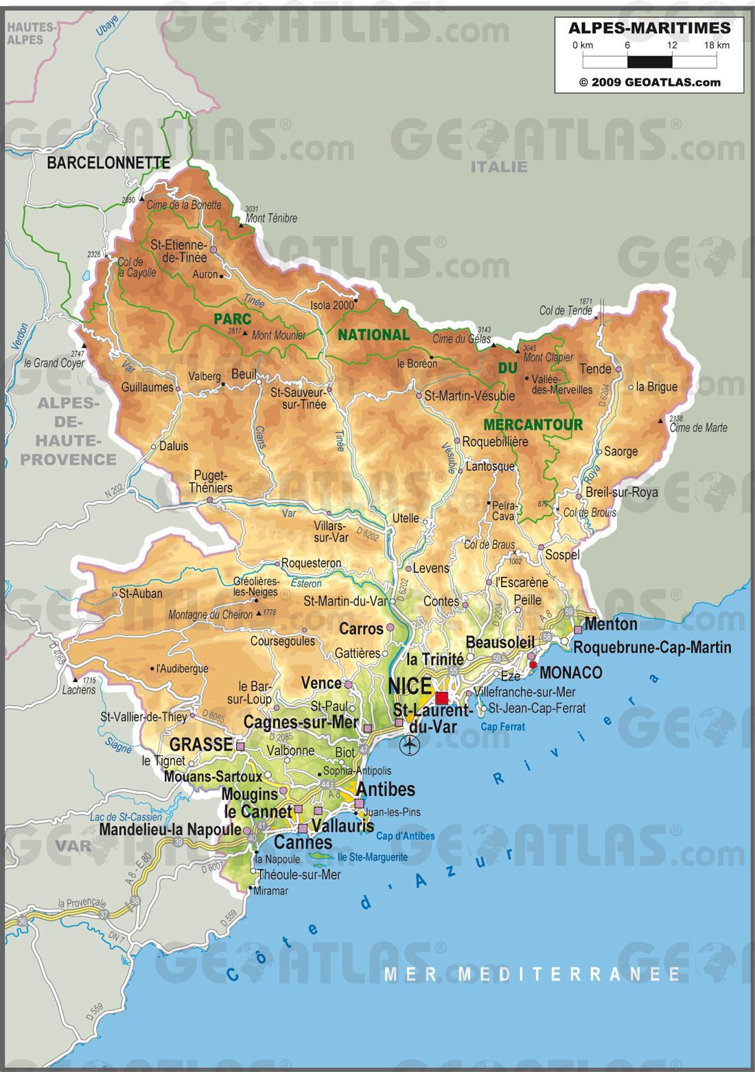 Carte Des Alpes Maritimes Avec Villes