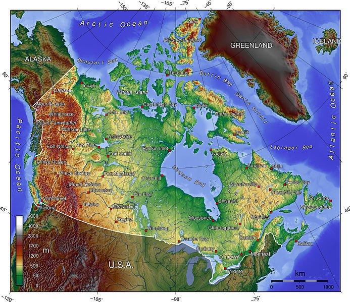 Autre carte du relief au Canada