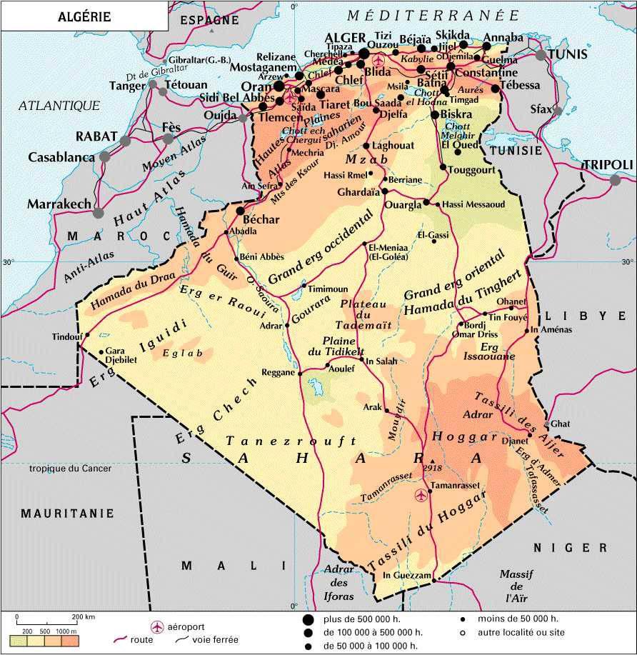 Carte administrative de l'Algérie