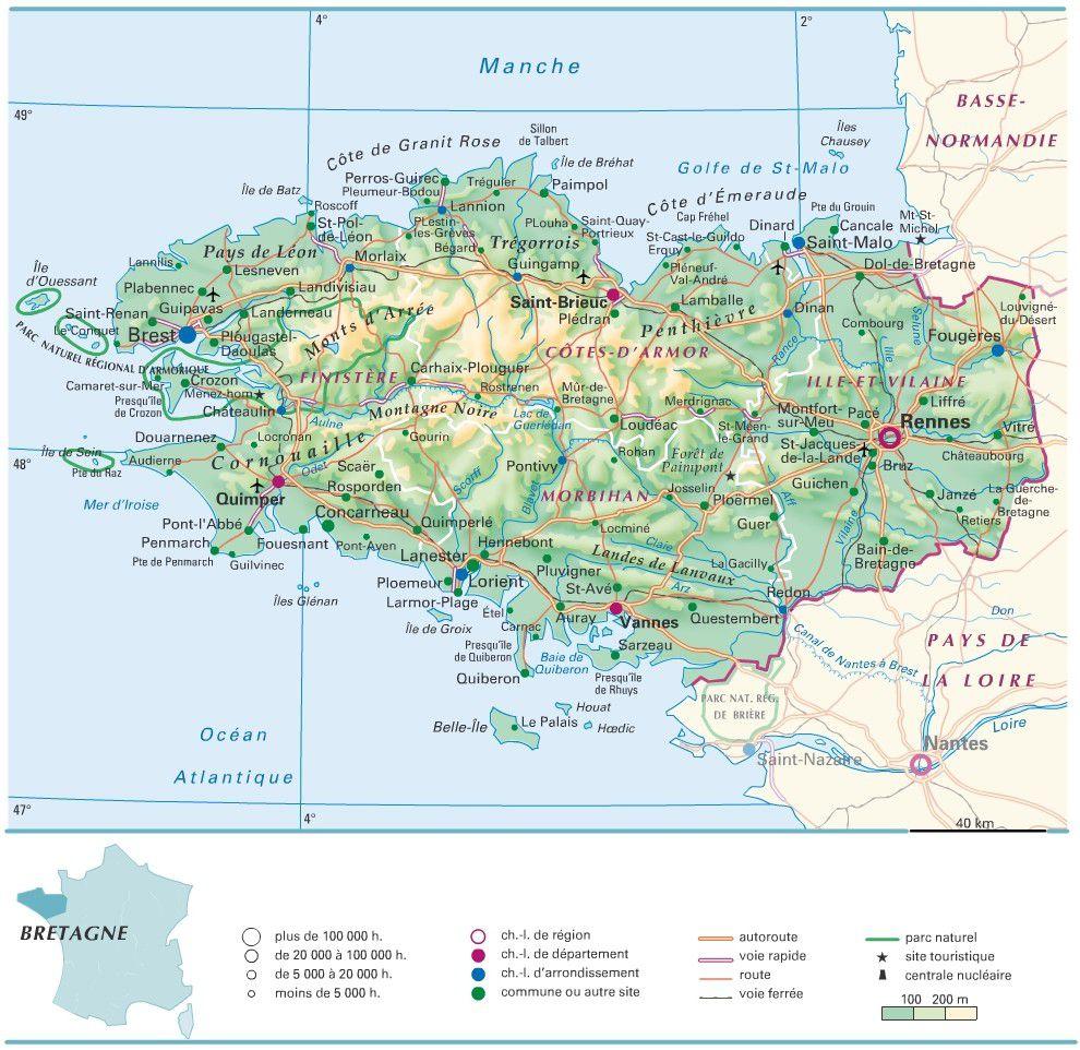 Carte administrative de la Bretagne