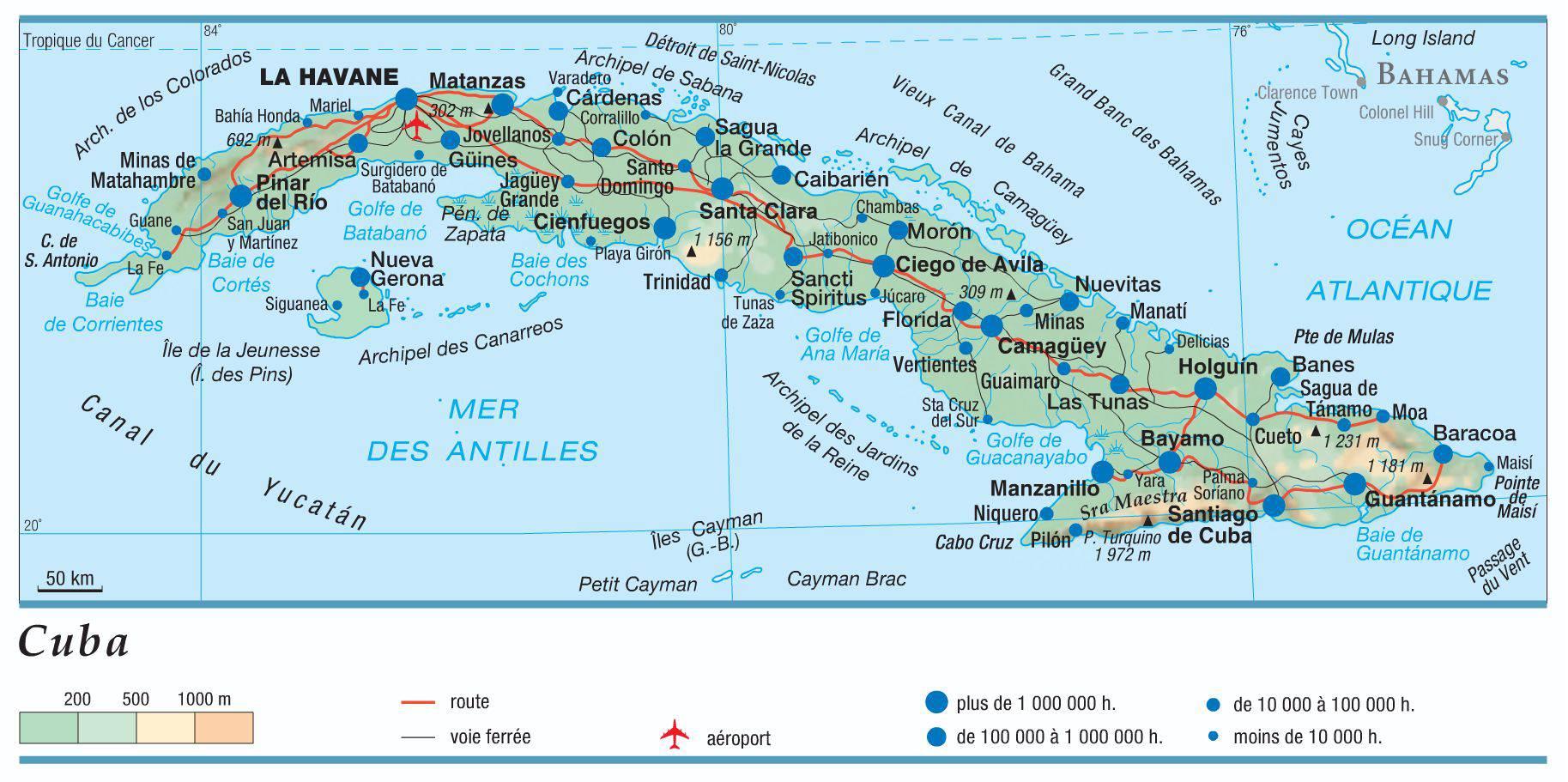 Carte De Cuba Avec Les Villes.Carte De Cuba Plusieurs Cartes Du Relief Des Villes