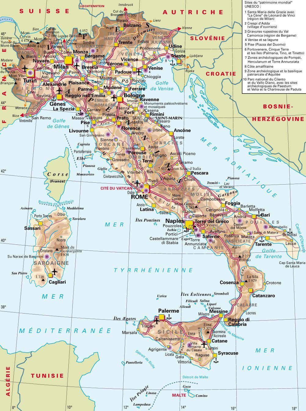 Carte Italie France.Carte De L Italie Cartes Sur Le Relief Villes Nord Iles