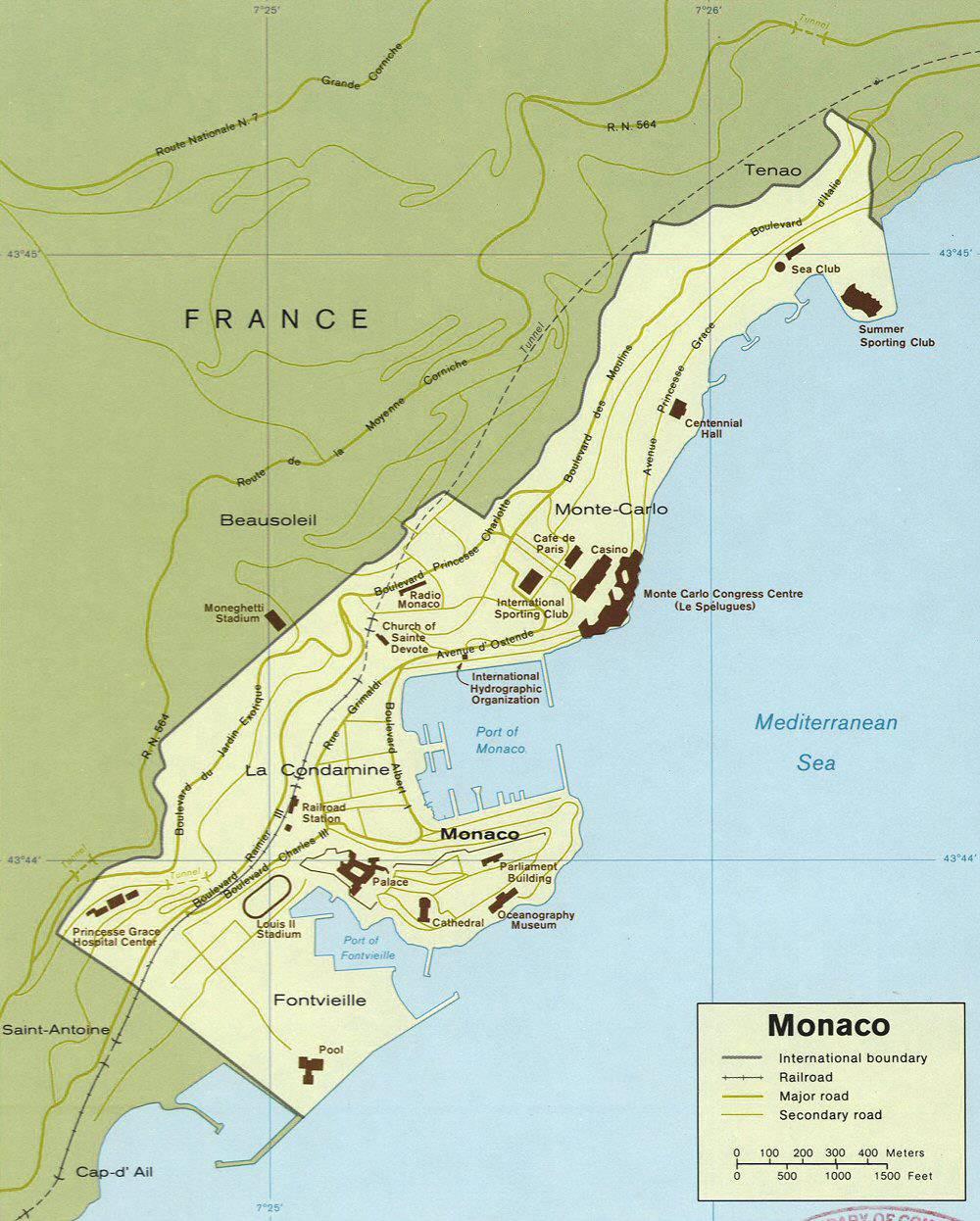 Carte administrative de Monaco