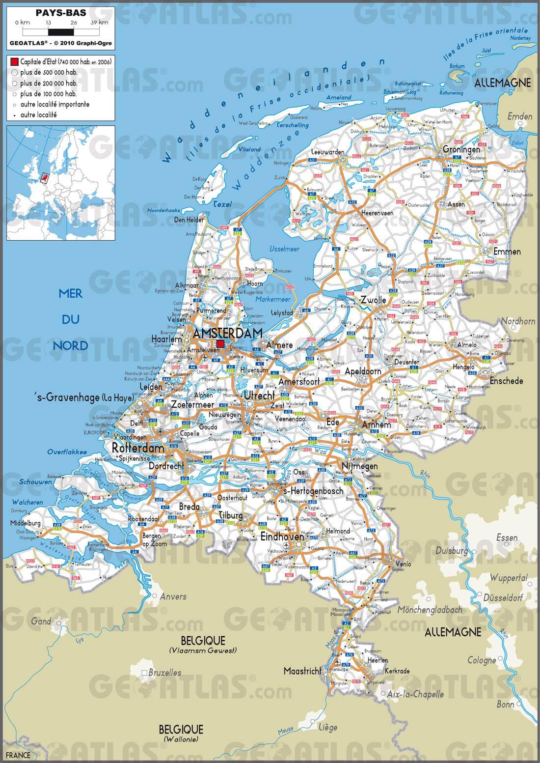 Carte administrative des Pays-Bas