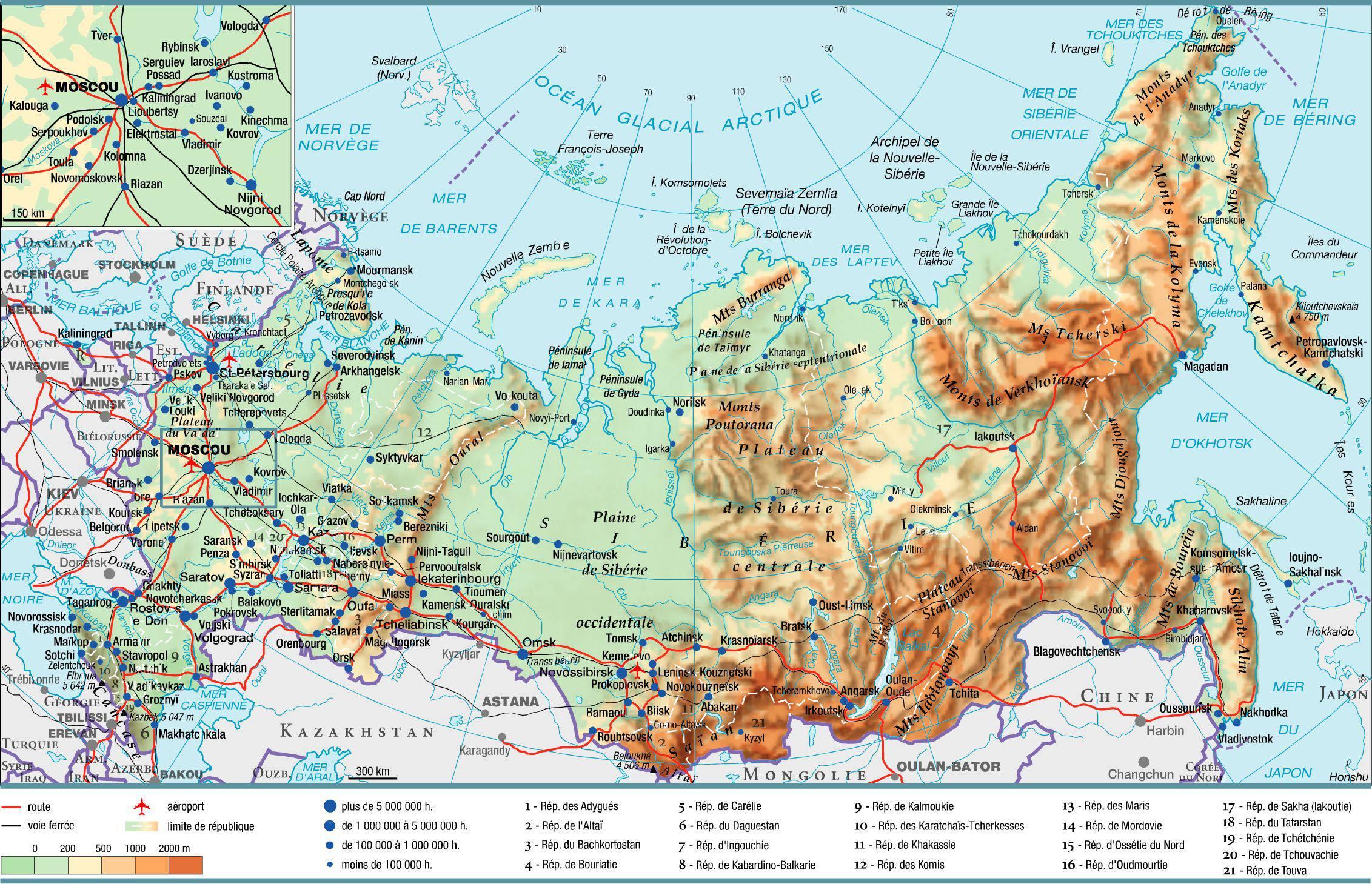 Carte administrative de la Russie