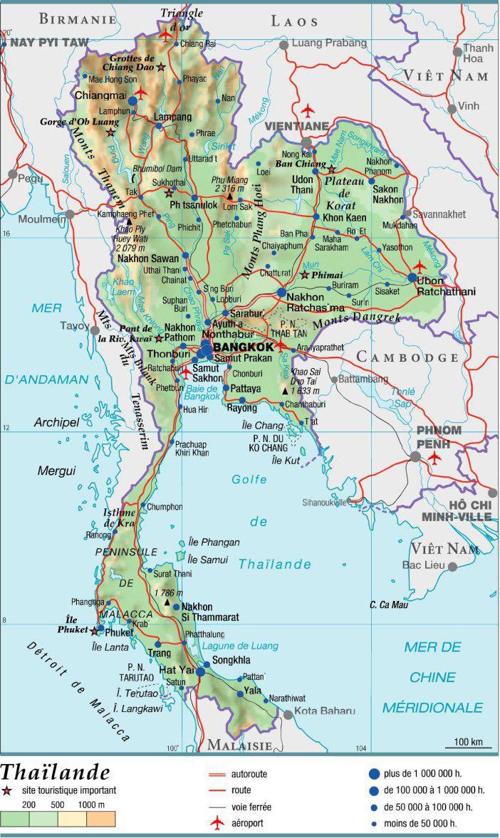 Carte Thailande Centre.Carte De La Thailande Cartes Sur Les Reliefs Les Villes