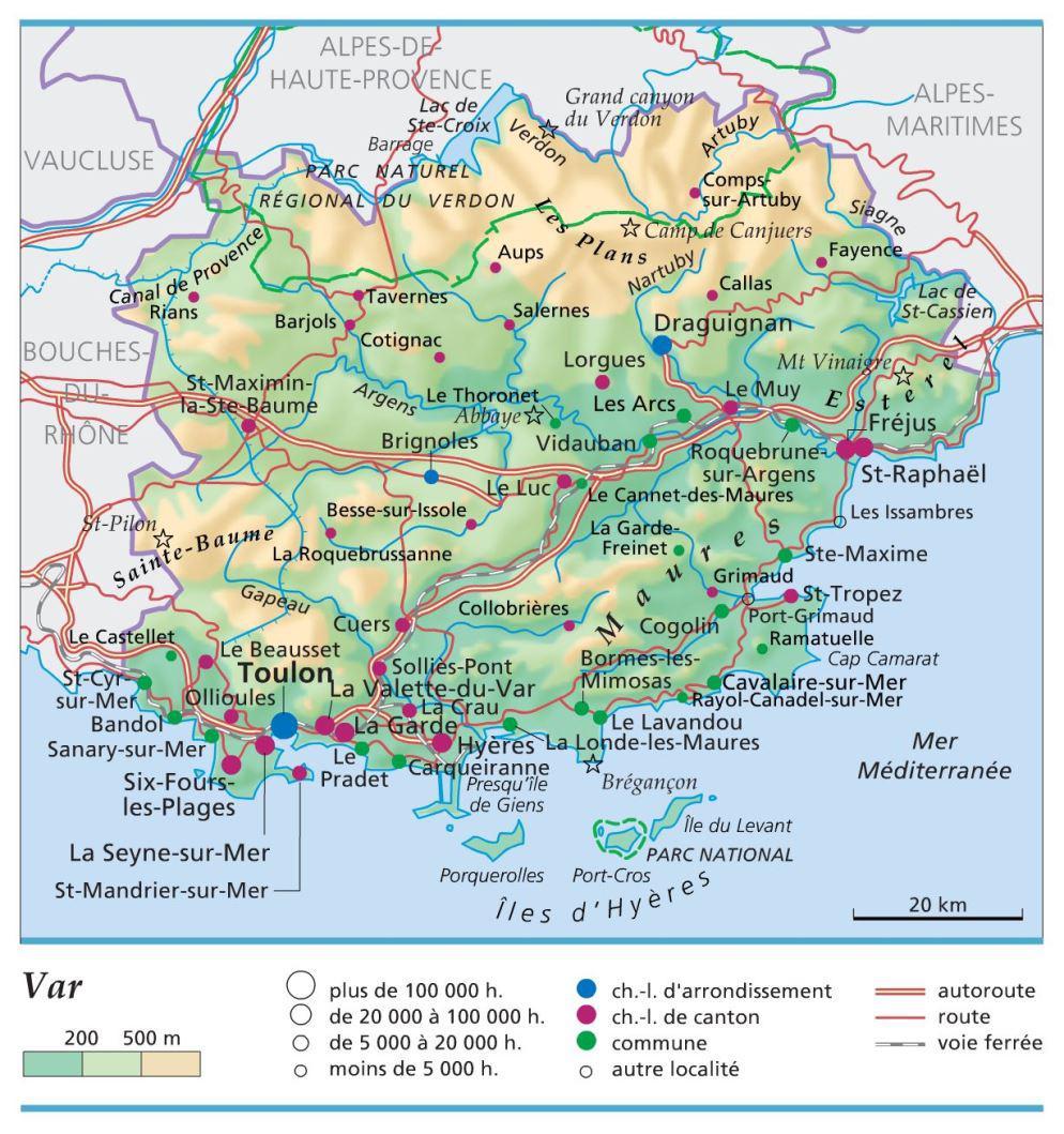 Carte administrative du Var