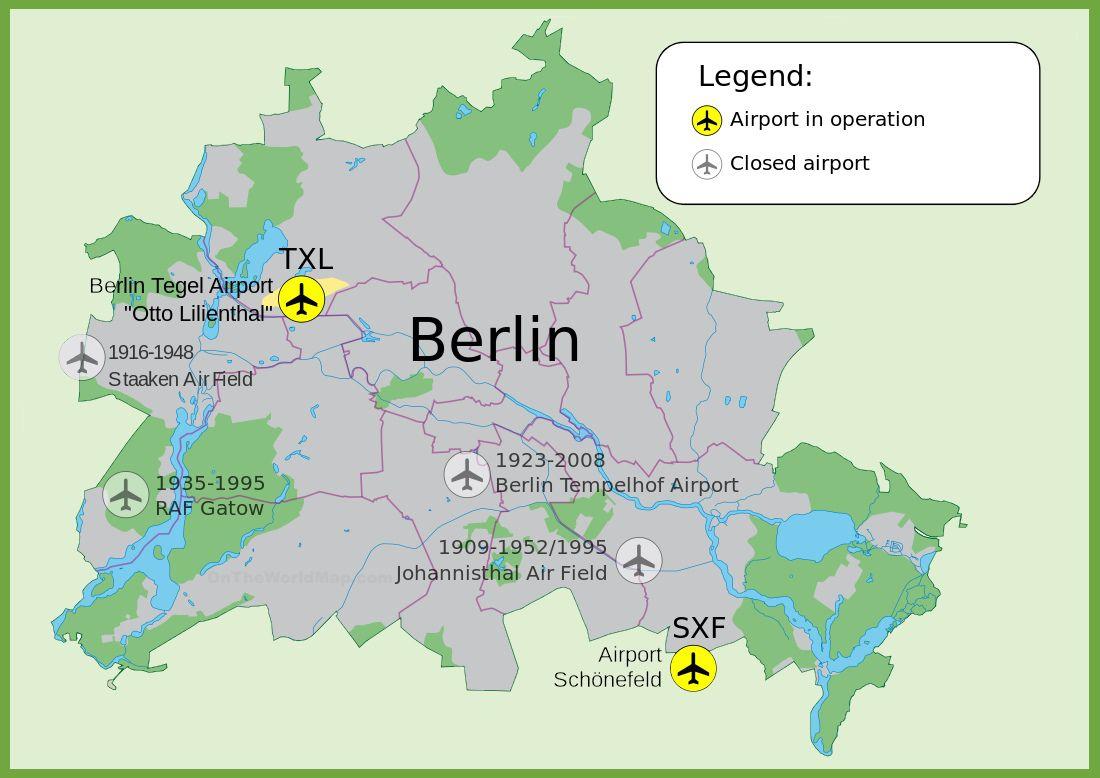 Carte des aéroports de Berlin