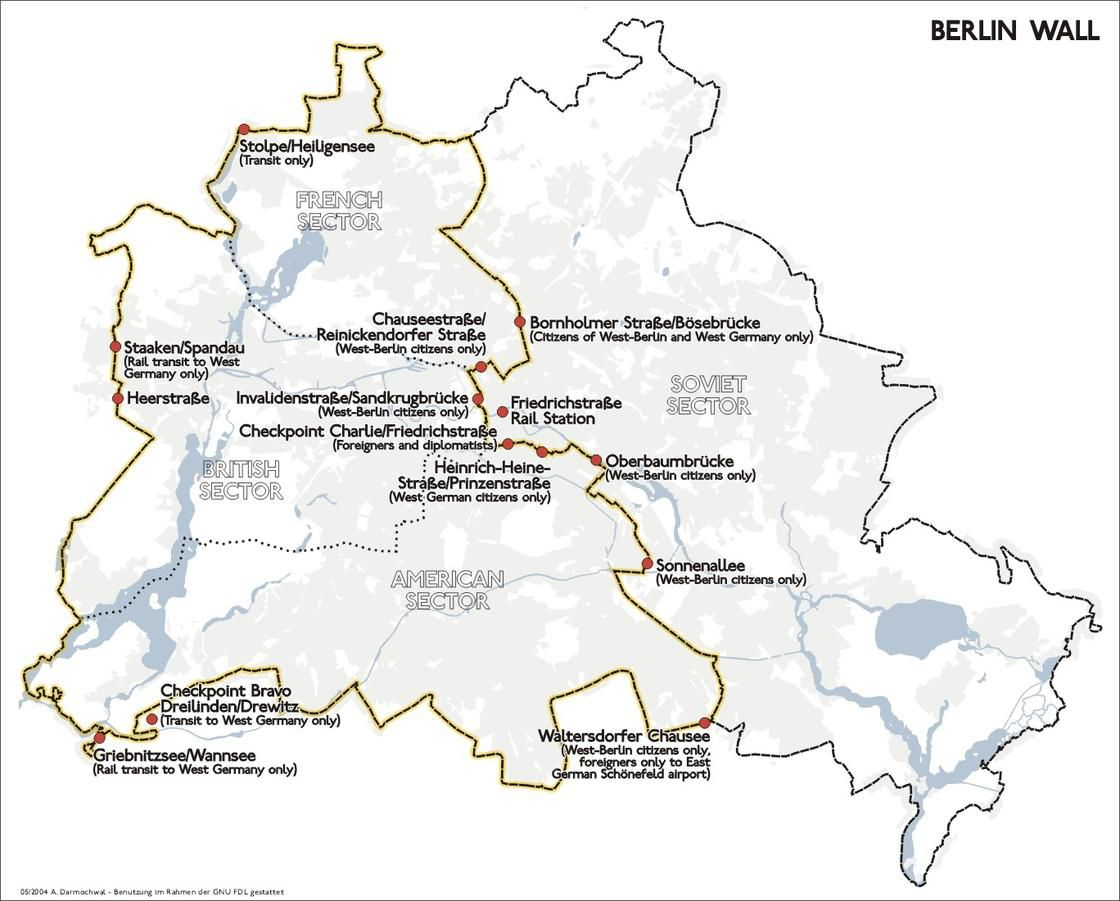 Carte de l'ancien mur de Berlin