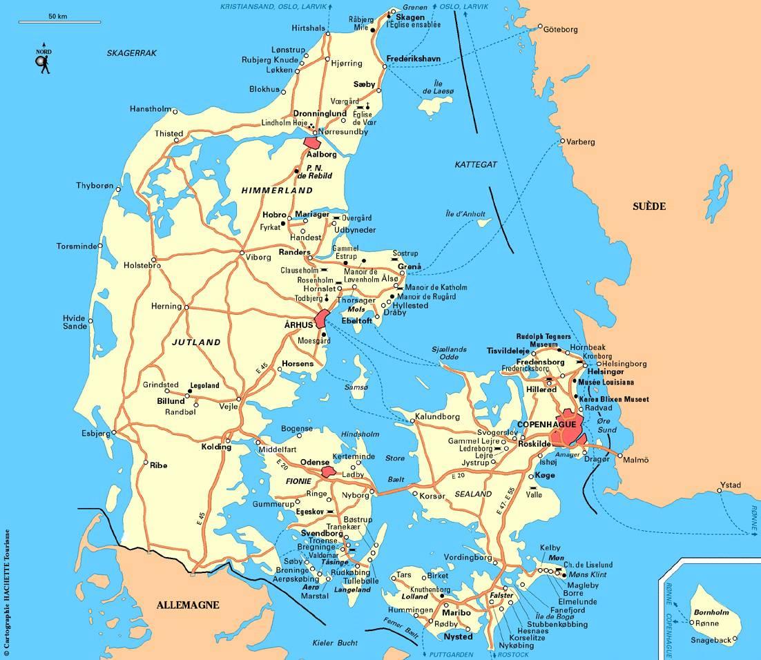 Carte des autoroutes au Danemark