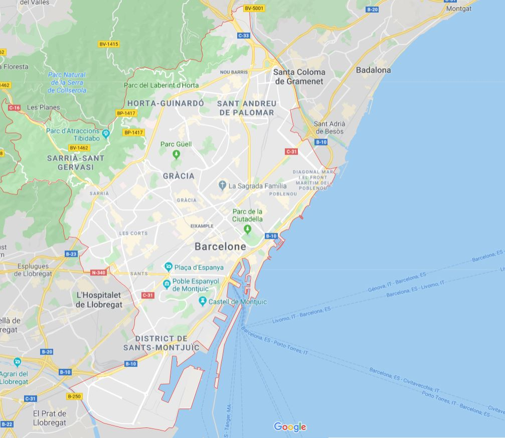 Carte de Barcelone - Cartes & plans de Barcelone, sites ...