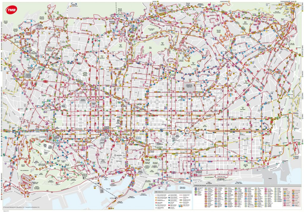 Carte des bus à Barcelone