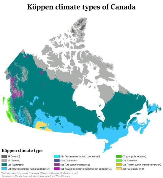 Carte du climat au Canada