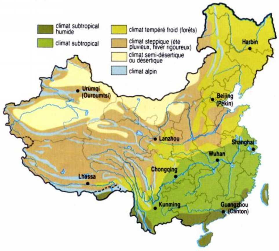Carte du climat de la Chine