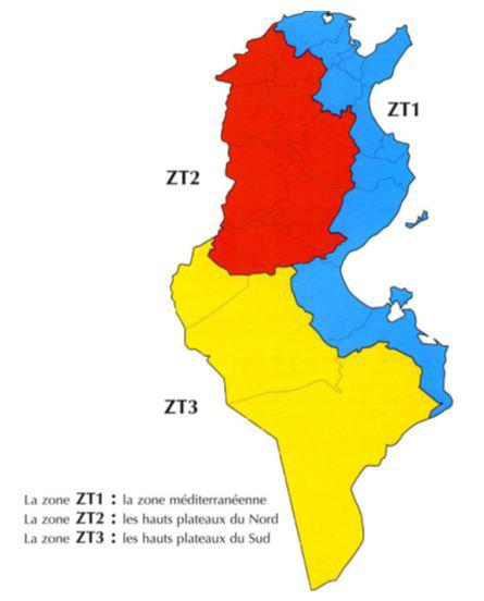 Carte du climat en Tunisie