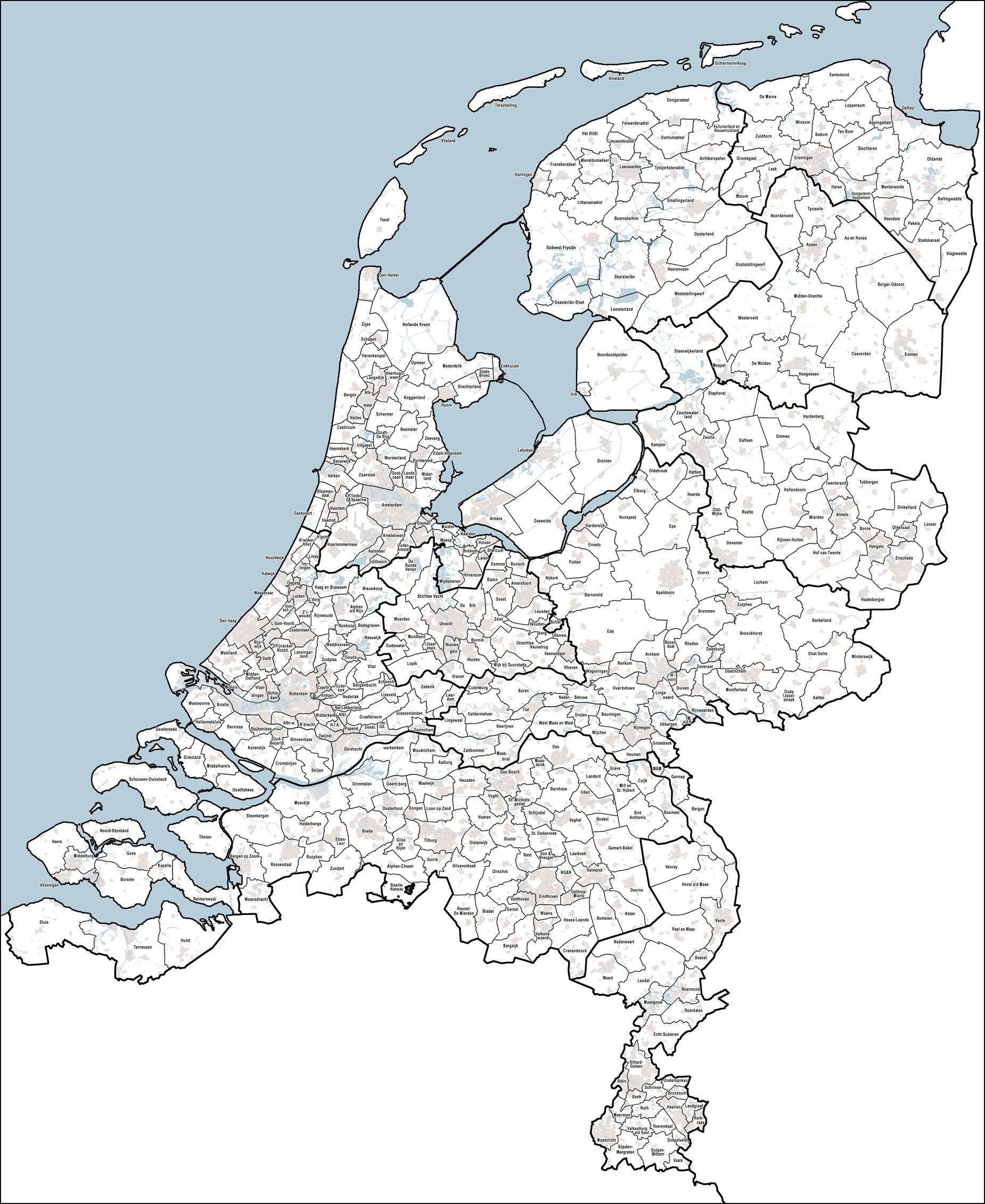 Carte des communes aux Pays-Bas