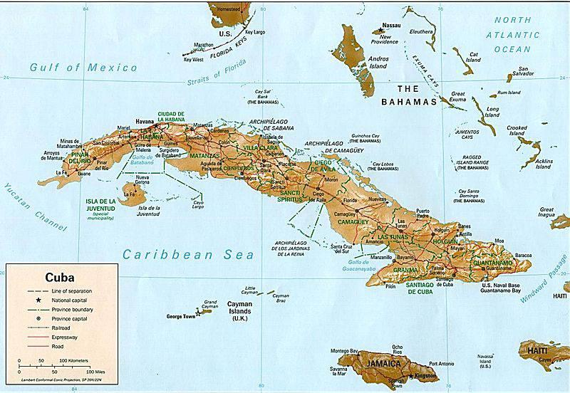 Carte Cuba Et Floride.Carte De Cuba Plusieurs Cartes Du Relief Des Villes