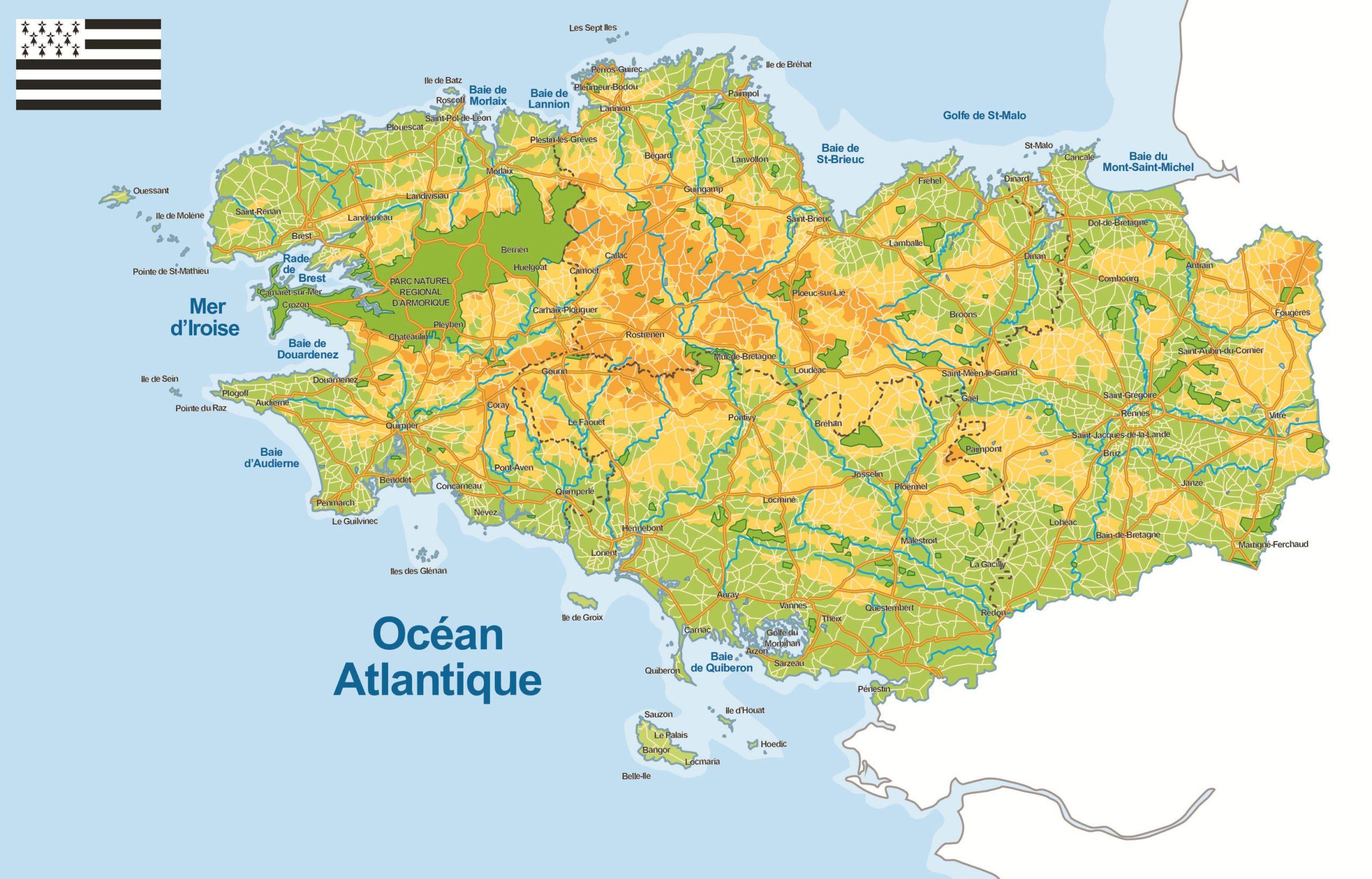 carte de bretagne sud Carte de la Bretagne (administrative)   Villes, relief