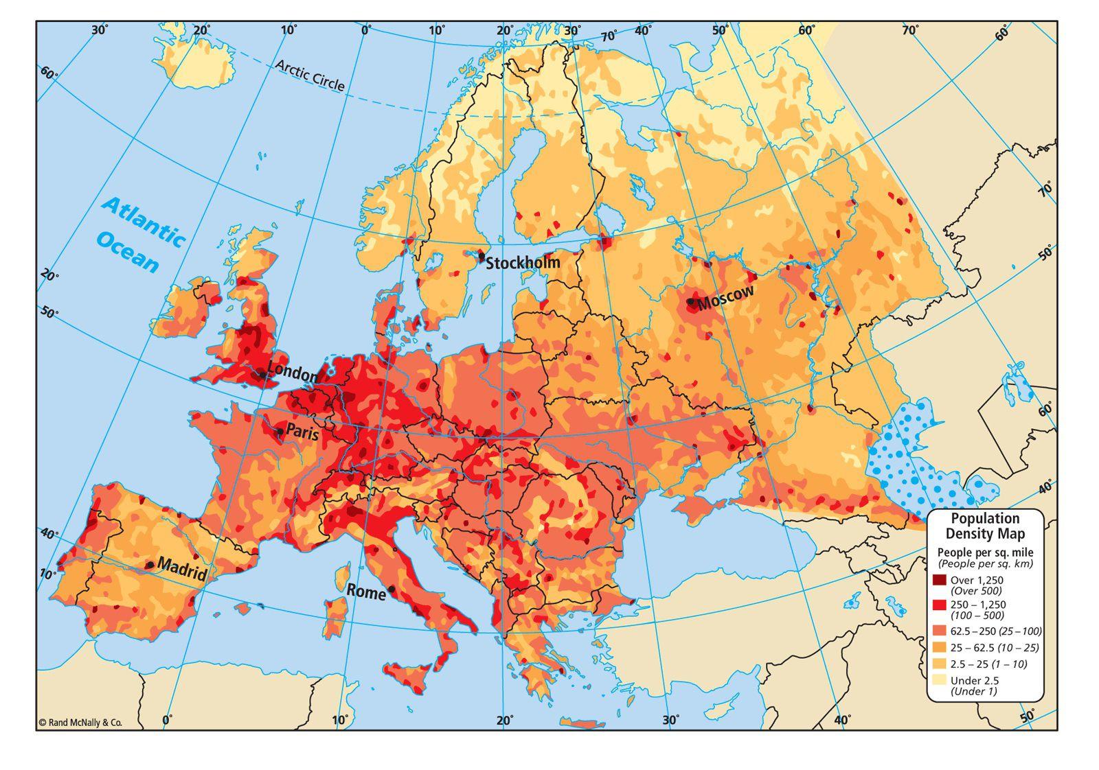 Carte de la densité de population de l'Europe