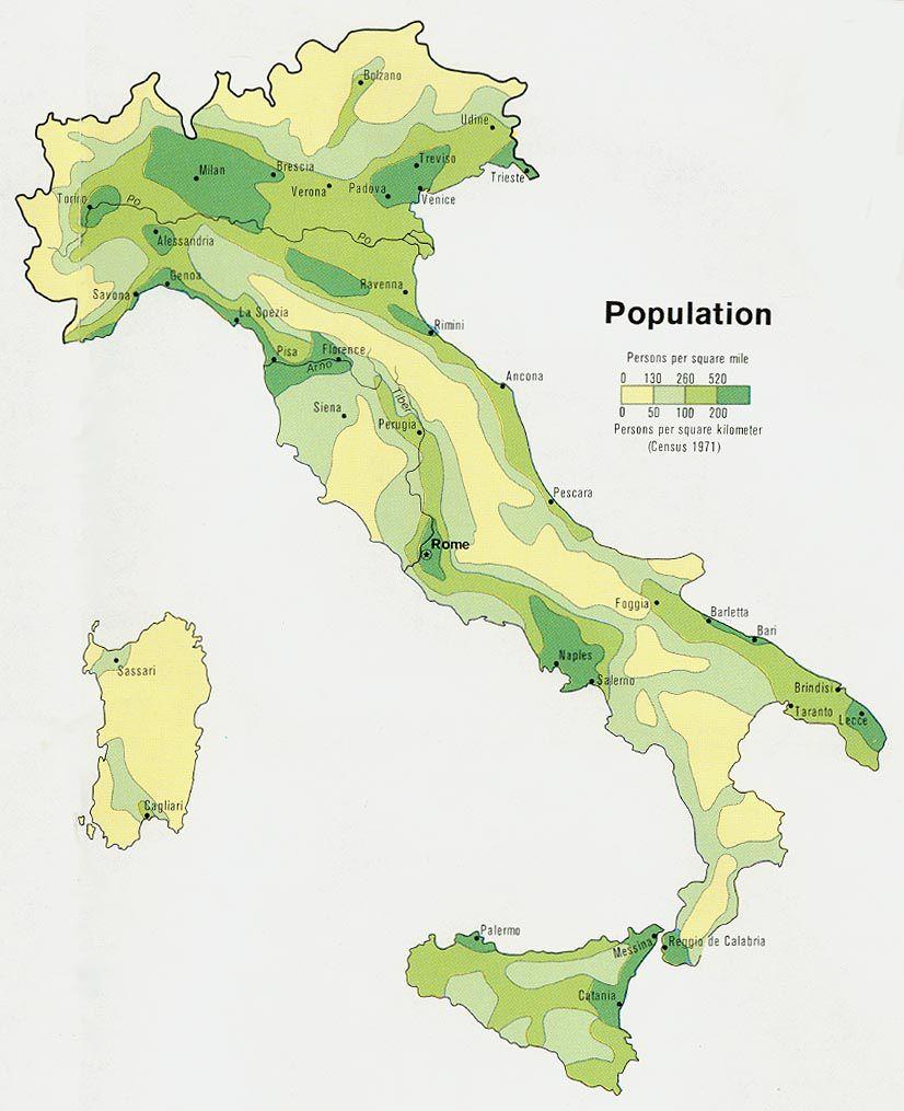 Carte densité de population en Italie