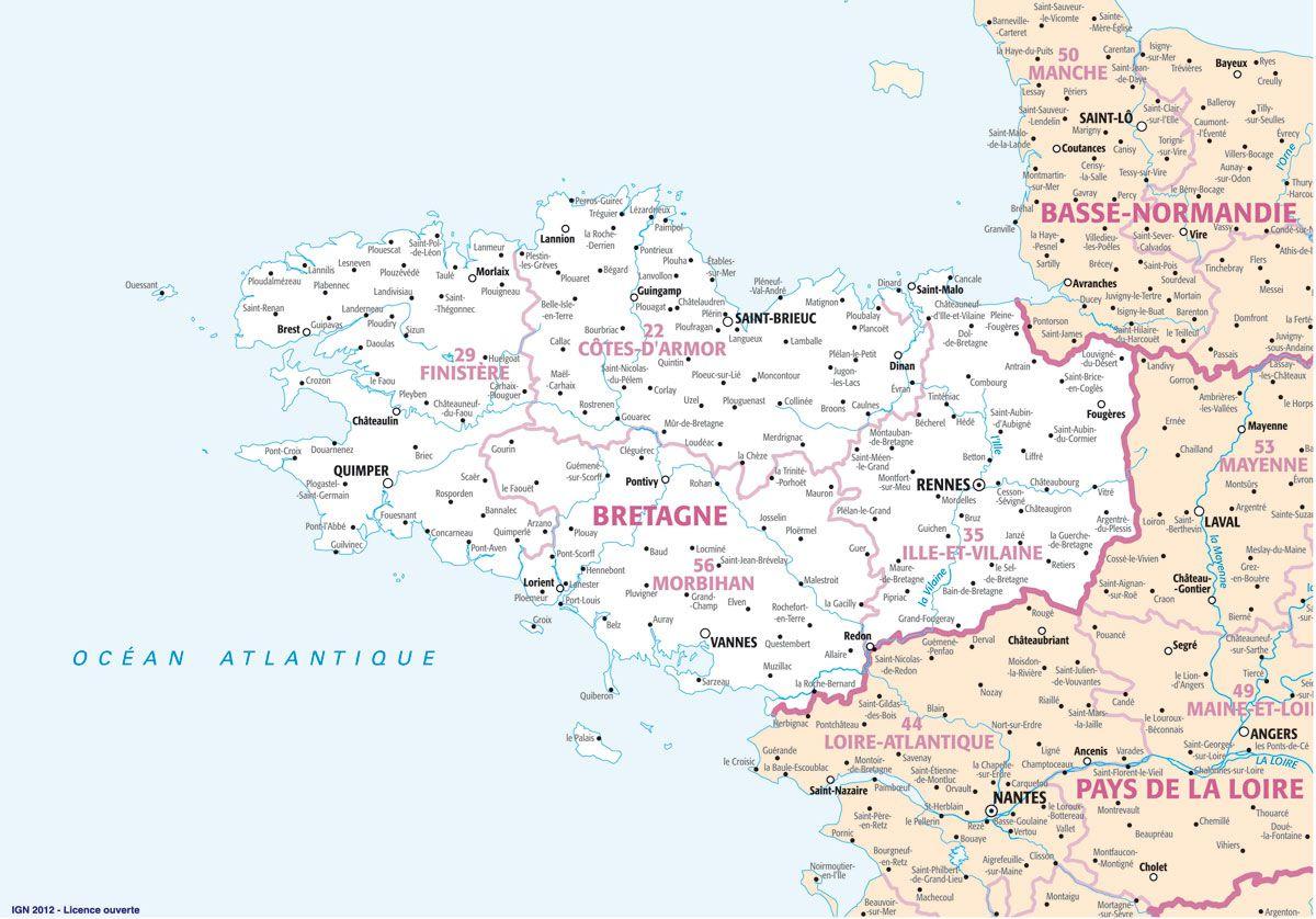 Carte Bretagne Villes Principales.Carte De La Bretagne Villes Relief Sites Touristiques
