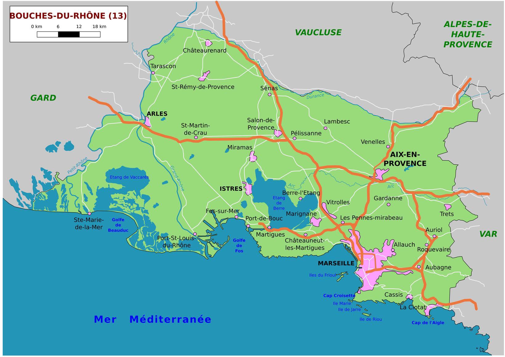 Carte des Bouches-du-Rhône