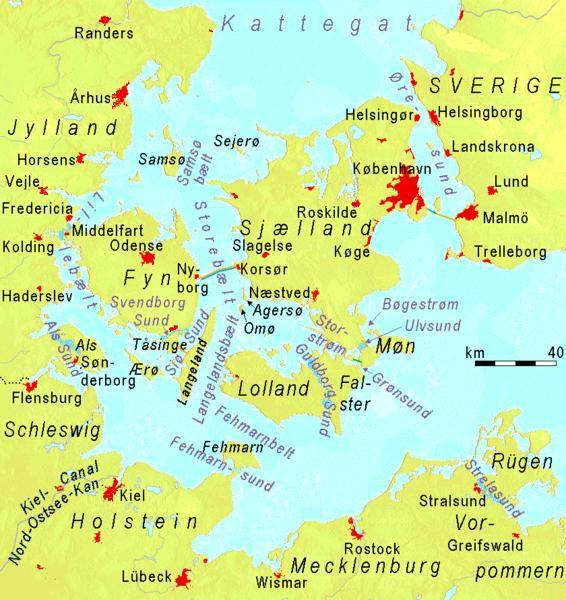 Carte des ponts du Danemark