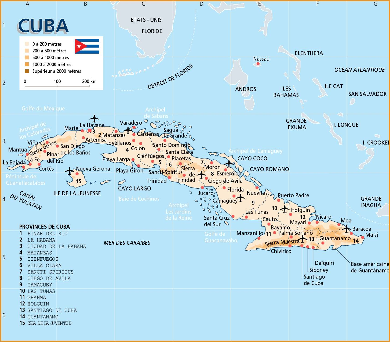 Carte des régions à Cuba
