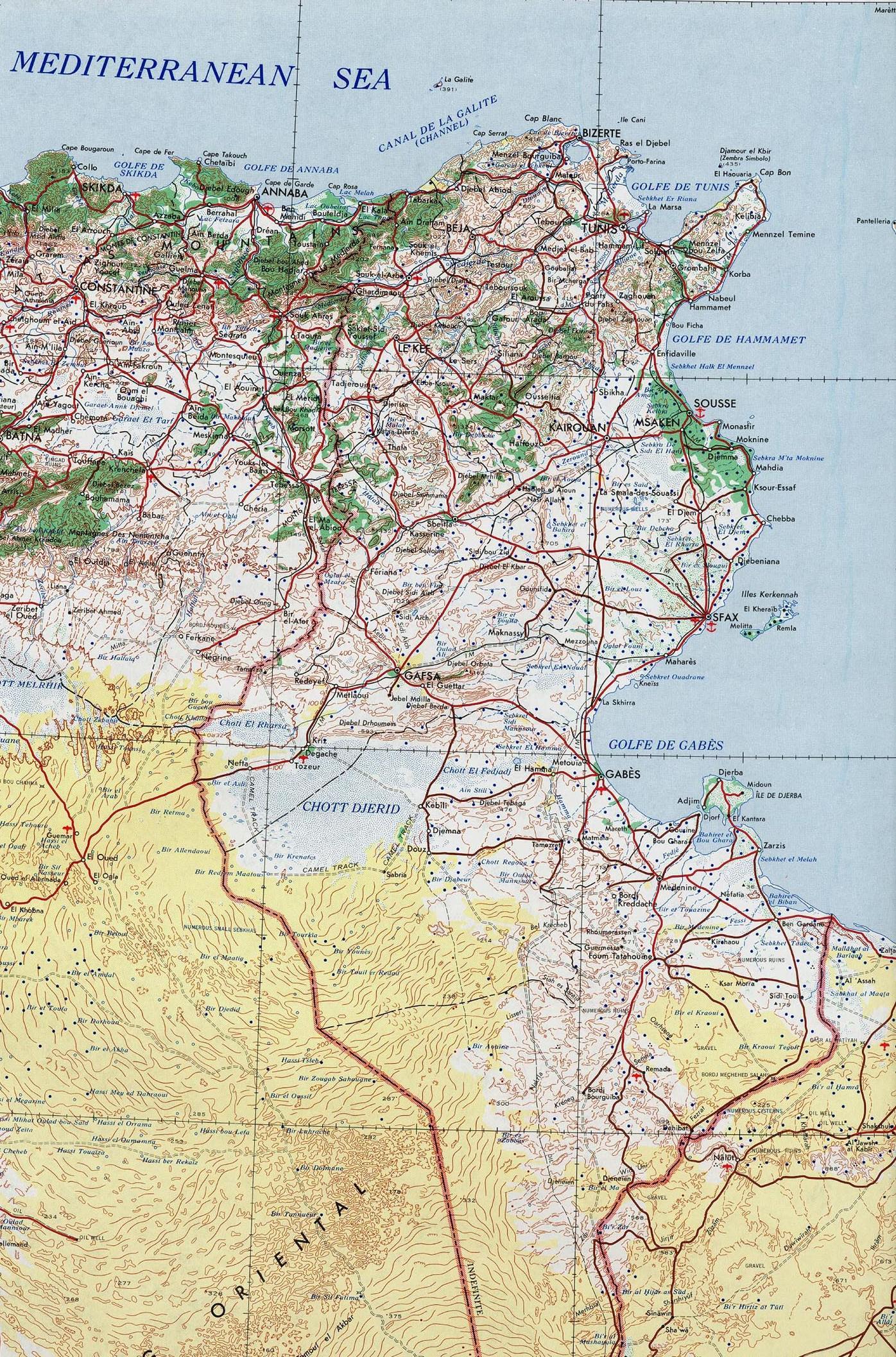 Carte des routes de la Tunisie