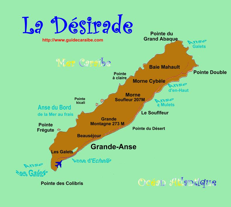 Carte de la Désirade - Guadeloupe