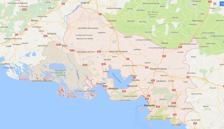 bouches du rhone carte detaillee Carte des Bouches du Rhône   Communes, Détaillée, relief, routes