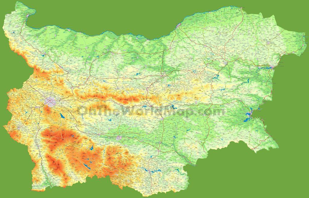 Carte détaillée de la Bulgarie