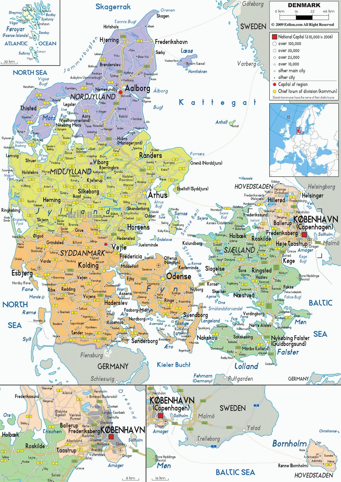 Carte détaillée du Danemark
