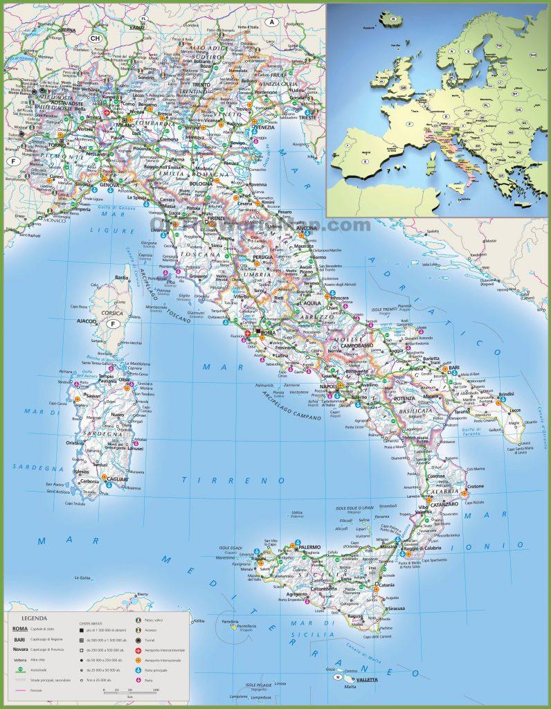 Carte détaillée de l'Italie