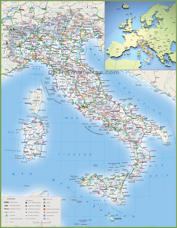Carte Plage Italie Du Nord.Carte De L Italie Cartes Sur Le Relief Villes Nord Iles