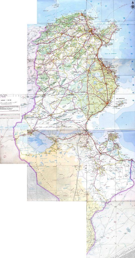 Carte détaillée de la Tunisie