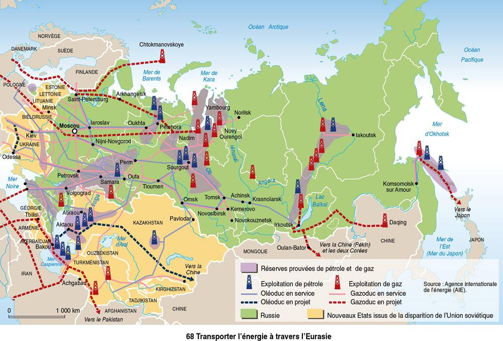 Carte de l'énergie en Russie