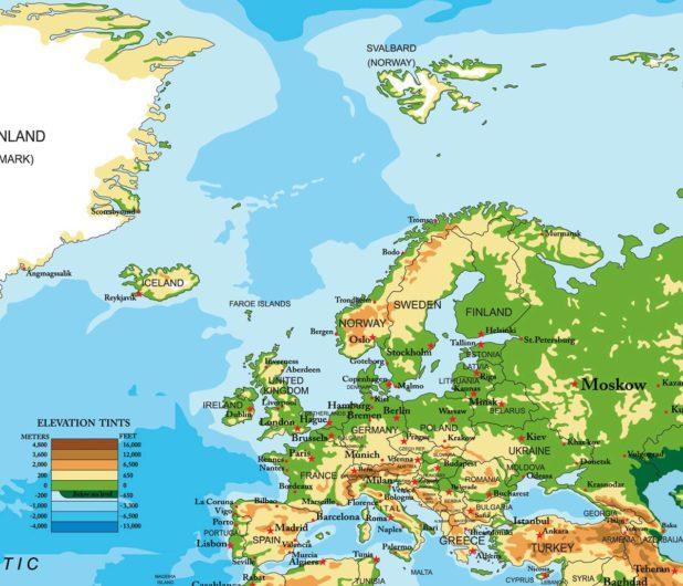 Carte de l'Europe (relief)