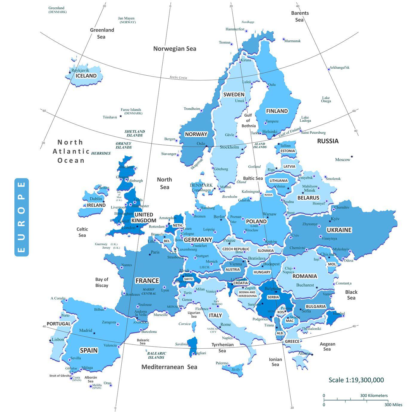 carte europe etendue
