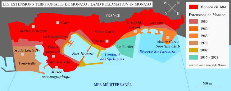 Carte des extensions de Monaco