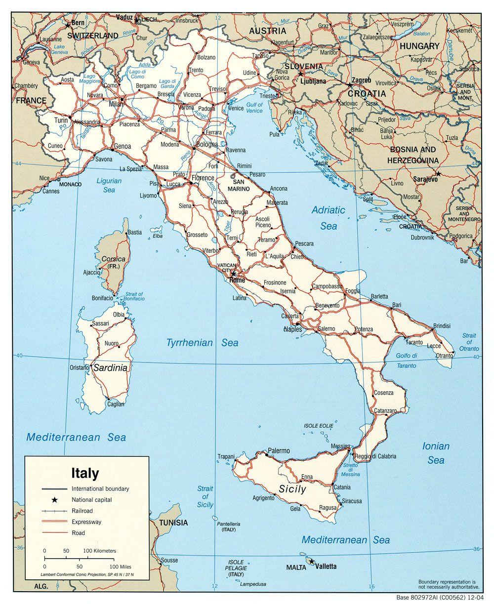 Carte des grandes routes en Italie