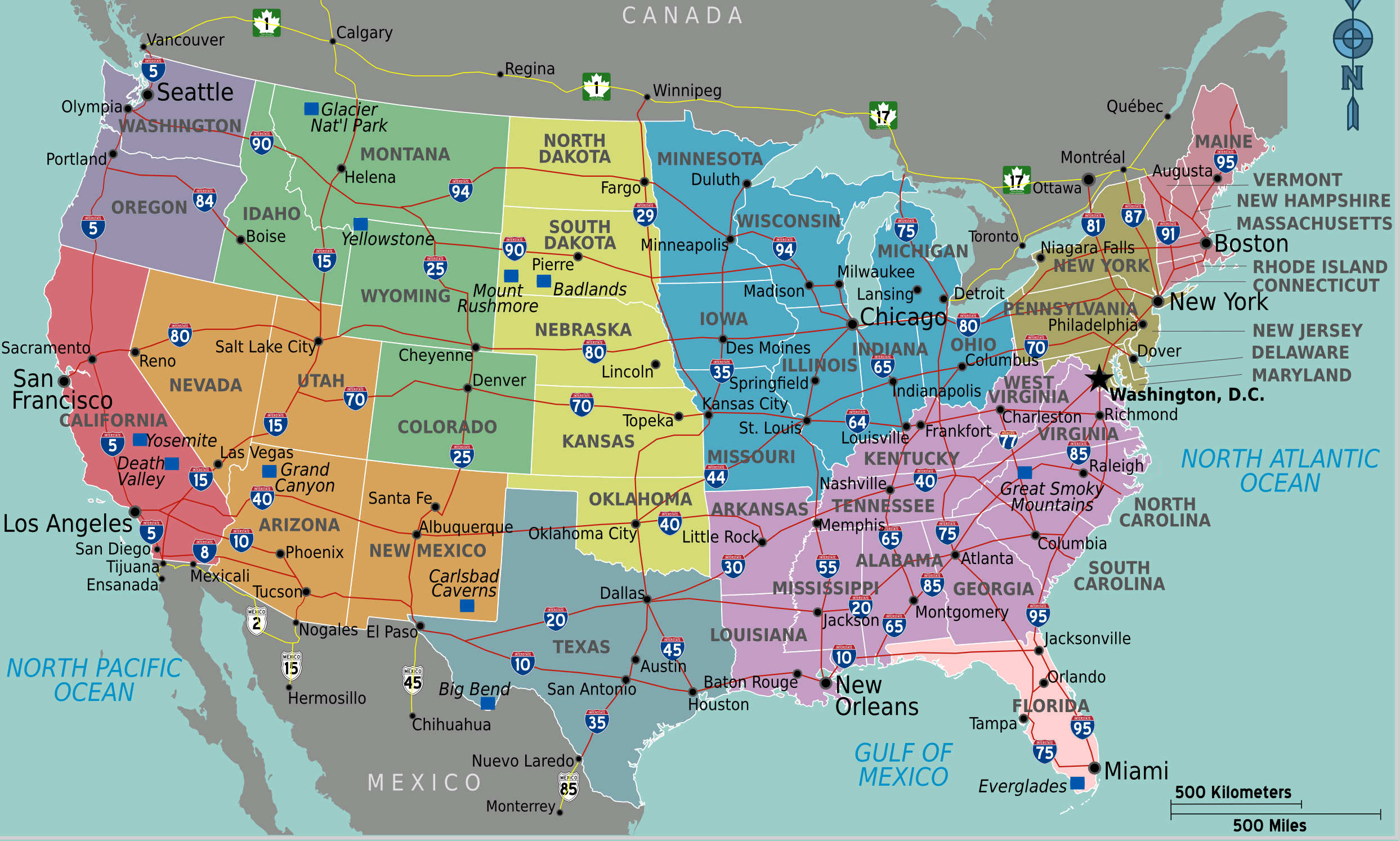 Carte des grandes routes des USA (Etats-Unis)