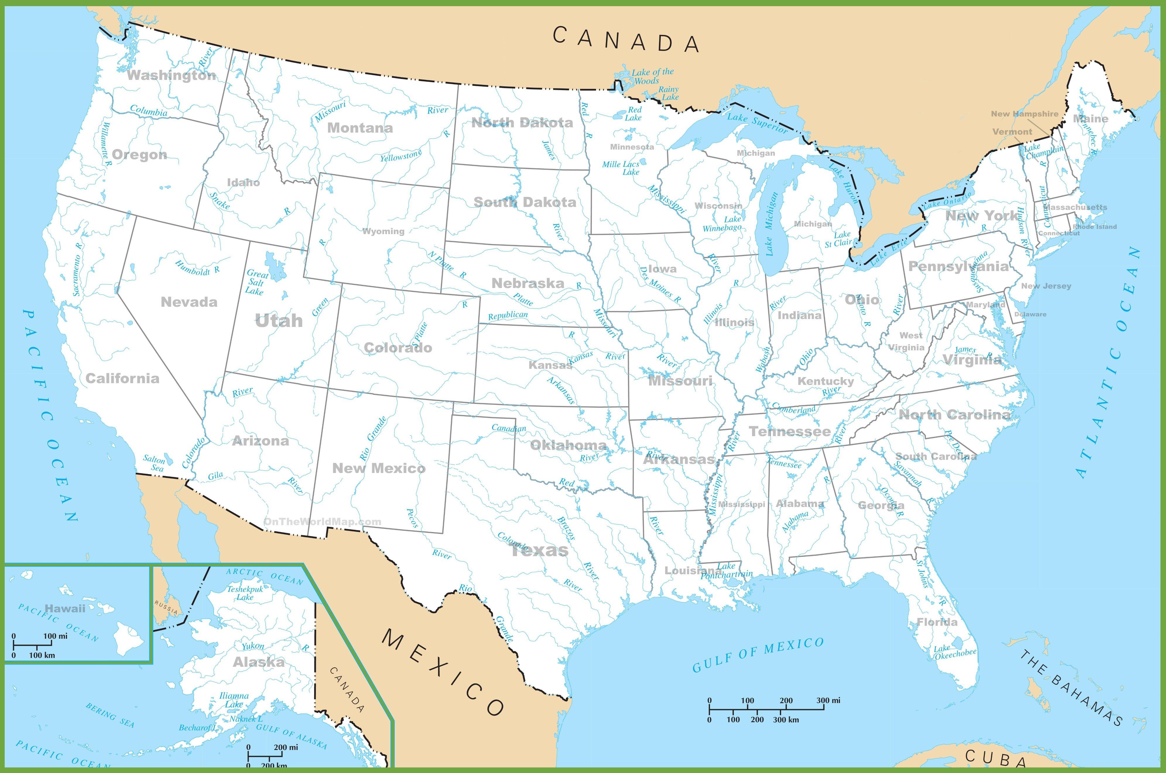 carte lacs fleuves usa etats unis
