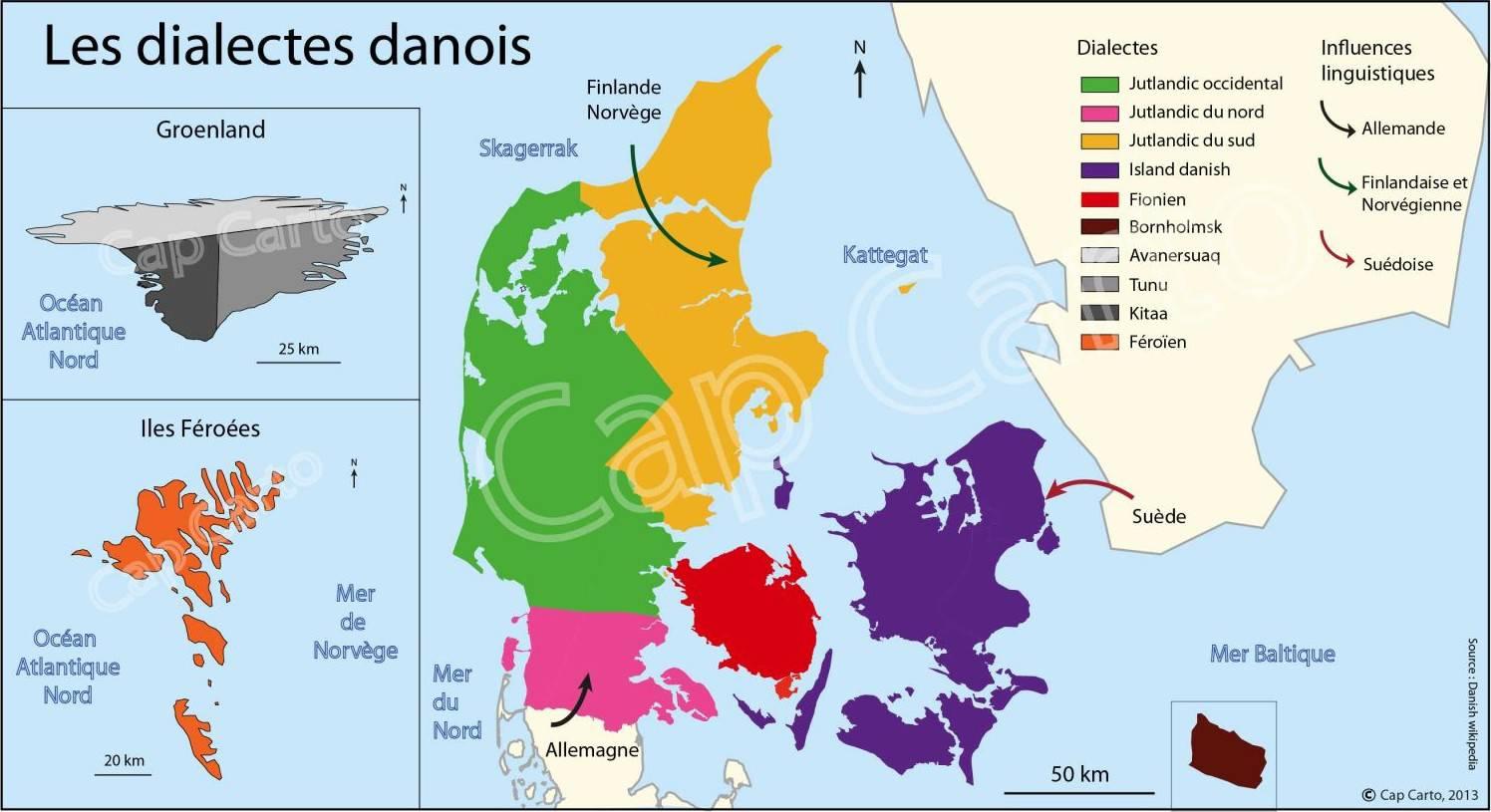 Carte des langues au Danemark