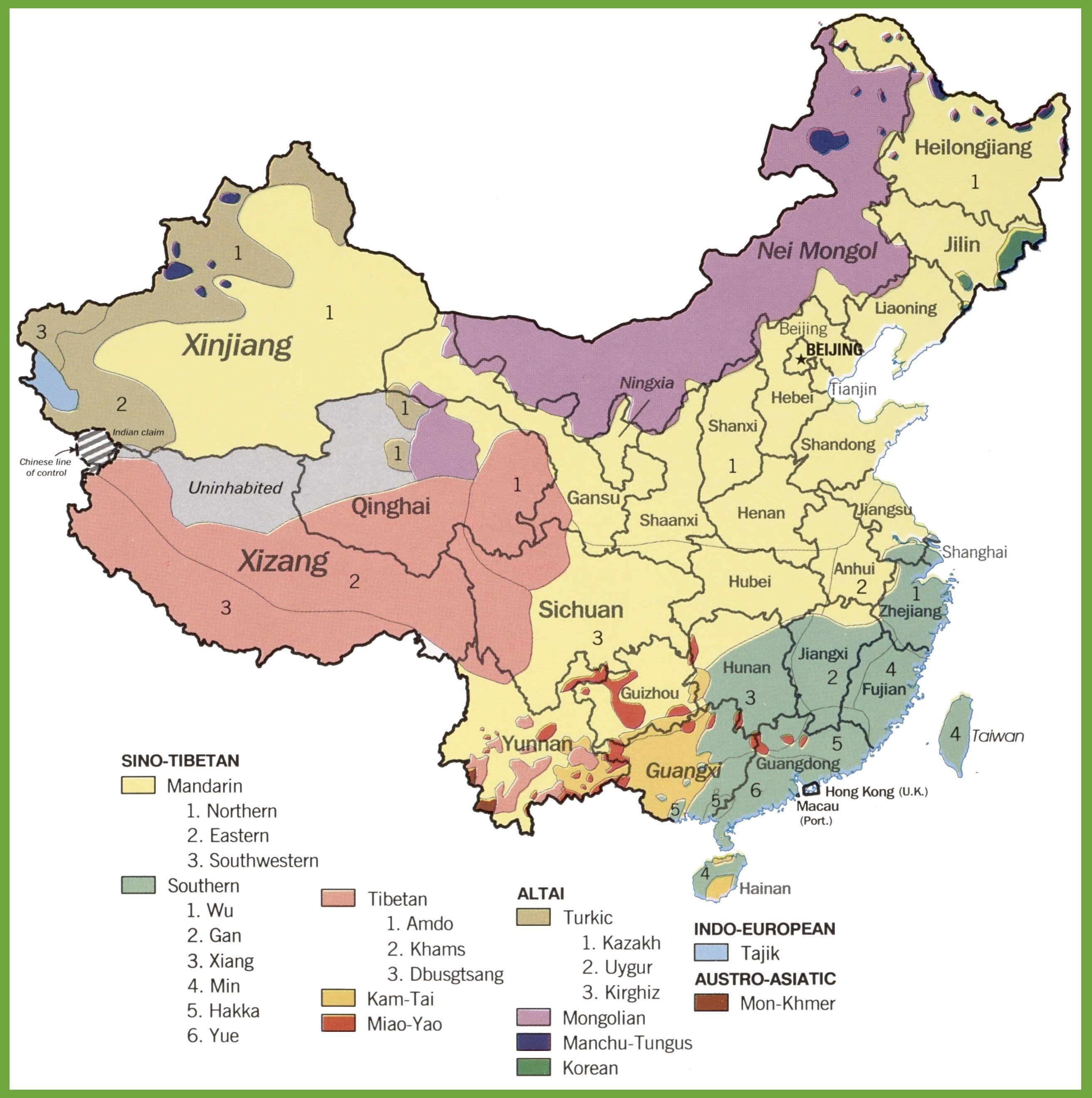Carte des langues en Chine