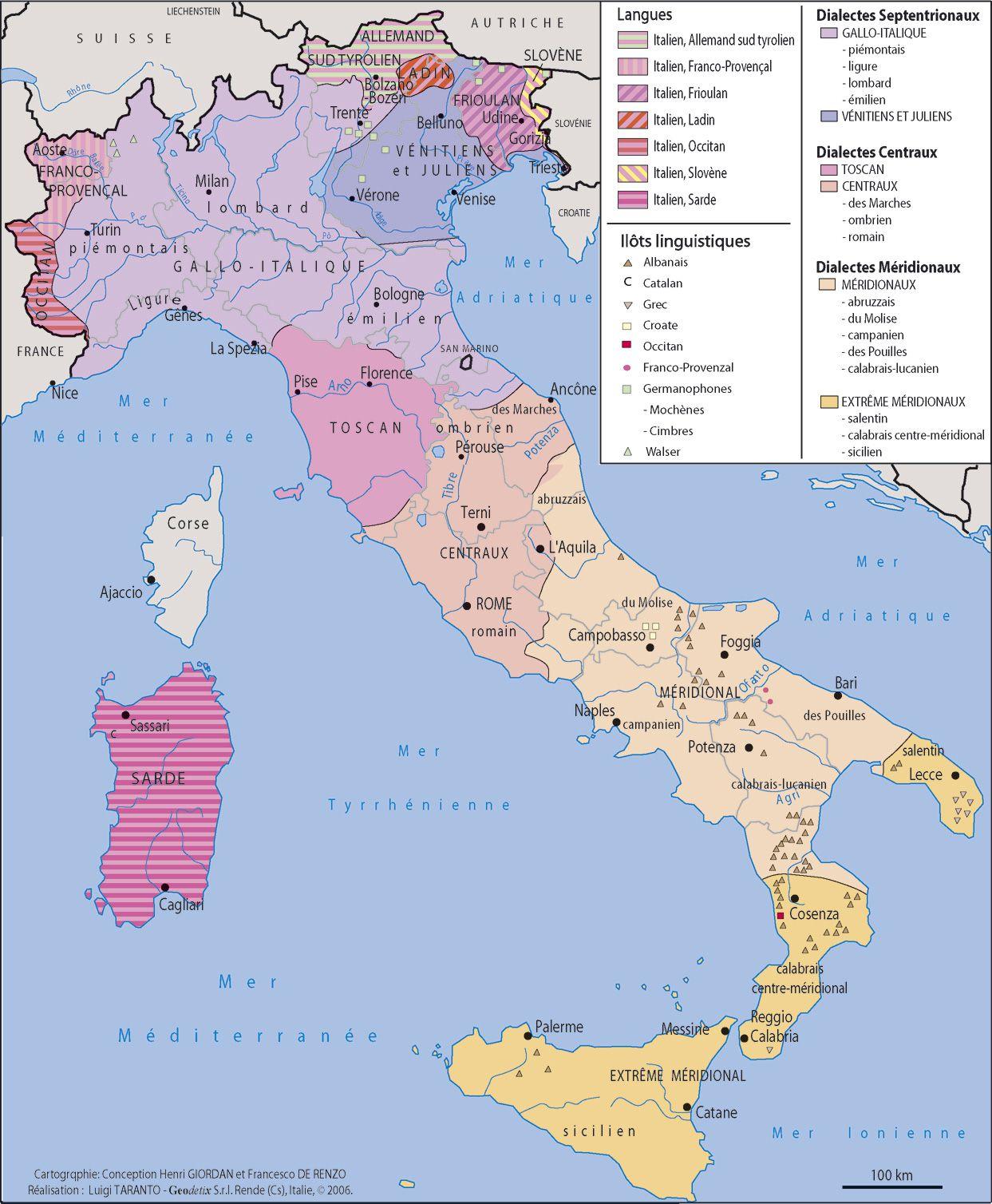 Carte de l'Italie - Cartes sur le relief, villes, Nord, îles, administrative...