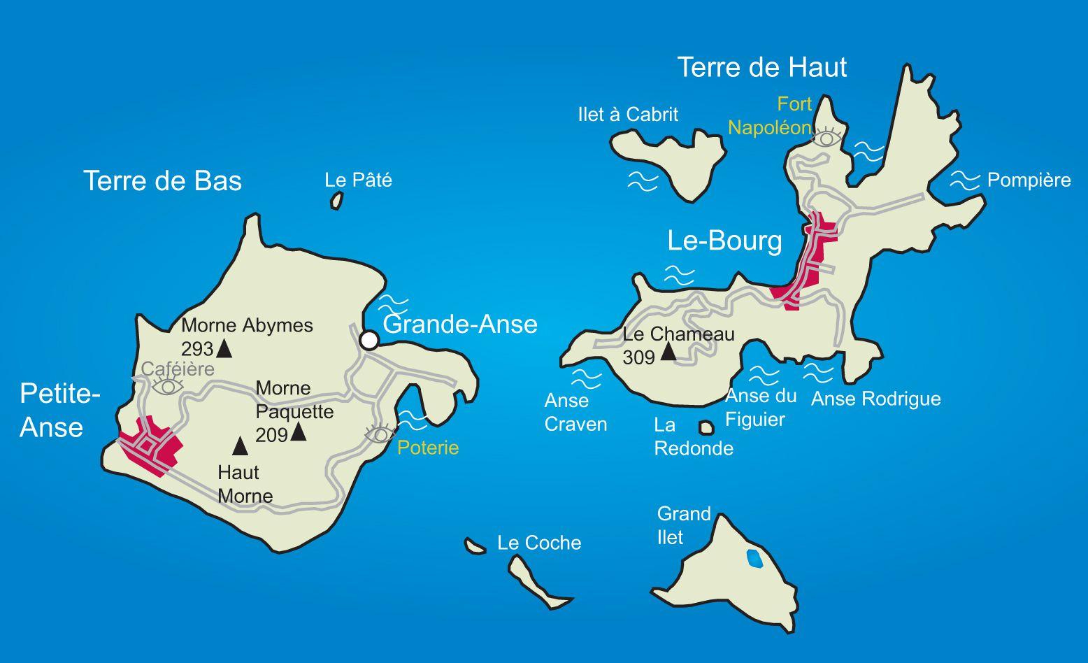 Carte des Saintes en Guadeloupe