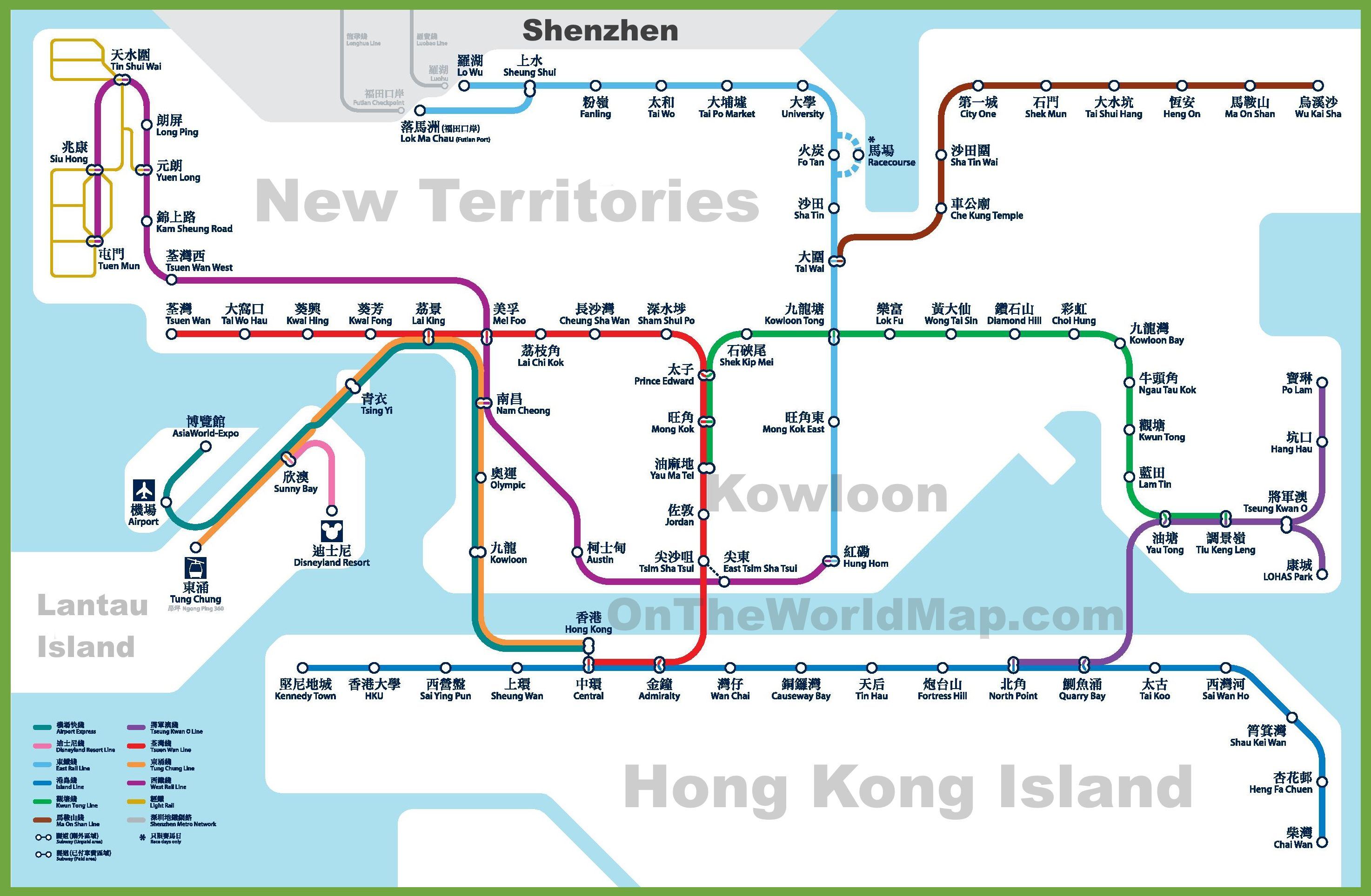 Carte du métro de Hong Kong