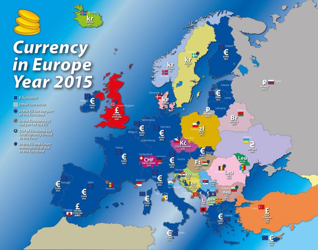 Carte des monnaies de l'Europe